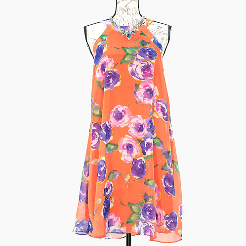 0718 BETSEY JOHNSON CORAL FLORAL DRESS