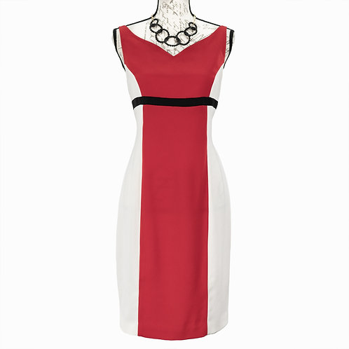 1002 RED WHITE BLACK DRESS