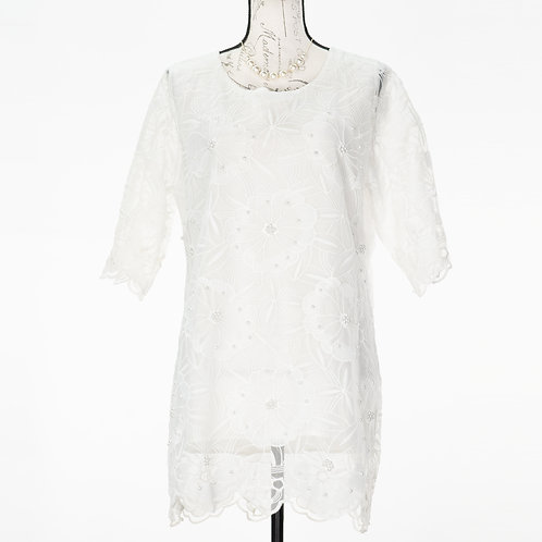 0732 WHITE SHEER LACE TOP