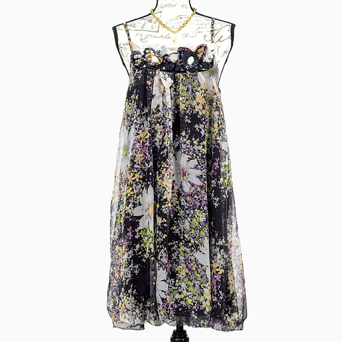 0857 BLACK GREEN WHITE FLORAL DRESS