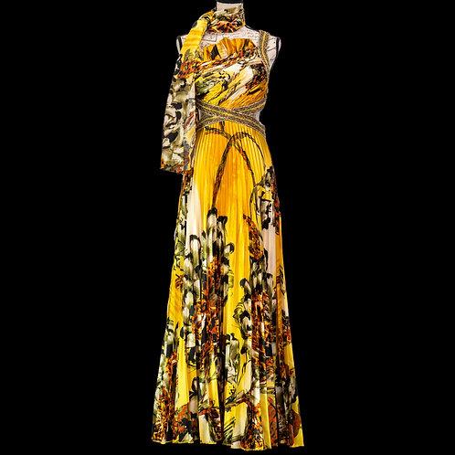 0495 CINDERELLA YELLOW PATTERN DRESS