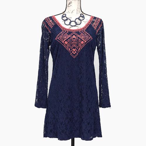 0632 BLUE & CORAL DRESS
