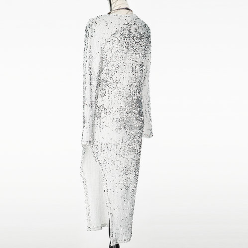 0717 WHITE SEQUINED DRESS