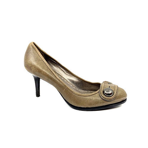 1402 COACH GRAY LEATHER PUMP