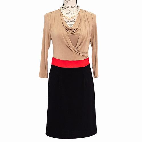 0328 BEIGE RED BLACK SPENCER PETITE DRESS