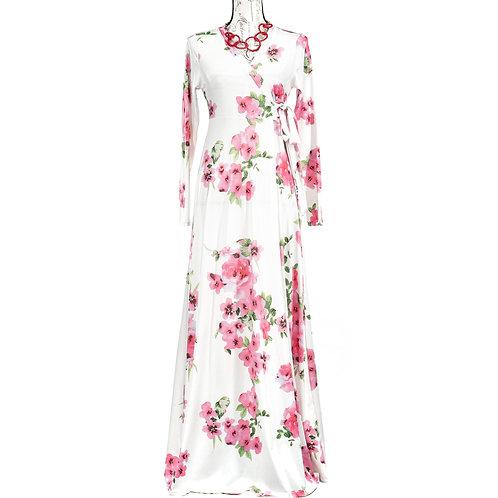 0858 WHITE PINK FLORAL DRESS