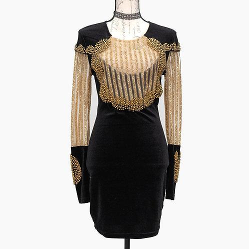 0638 BLACK & GOLD DRESS