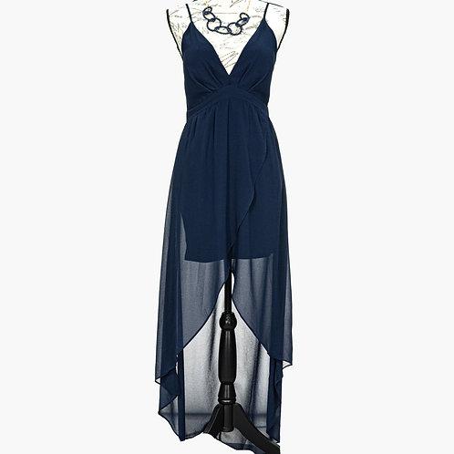 0613 NAVY BLUE CHIFFON DRESS
