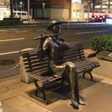 a night scenery of a statue in central Fukui city