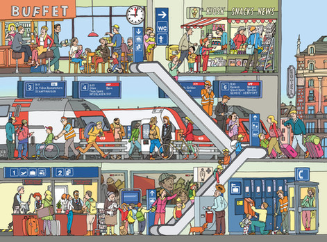 Wimmelbild Im Bahnhof