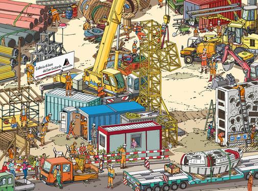 Wimmelbild Baustelle Einrichten GBT