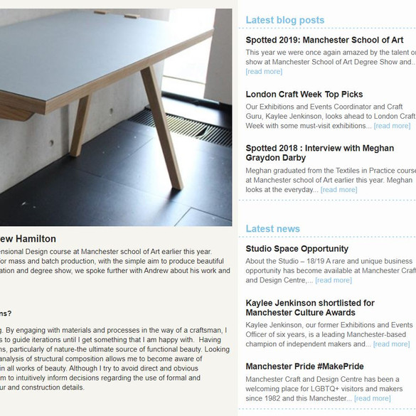 Manchester Craft & Design Centre interview