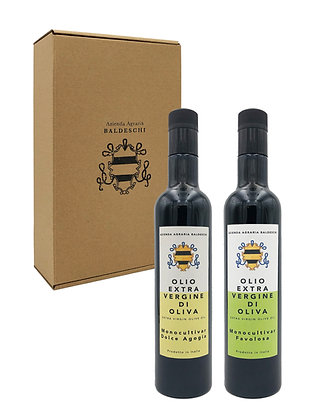 Box of 2 Monocultivar Favolosa and Dolce Agogia 0.5L bottles