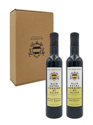 Box of 2 Monocultivar Moraiolo and Dolce Agogia 0.5L bottles