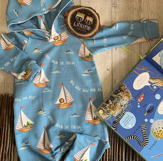 Hooded Romper -Row row row your boat