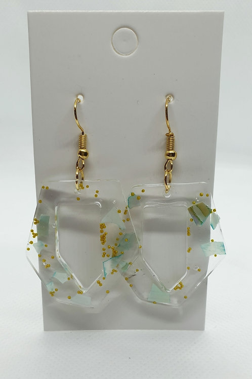 Green and Gold misshapen earrings