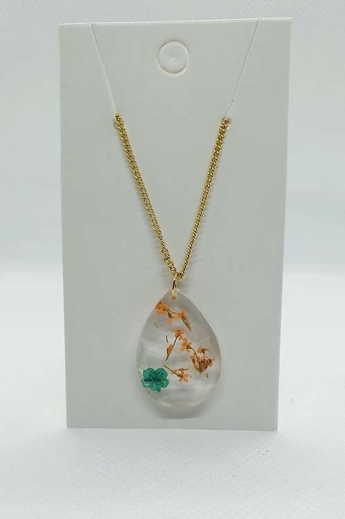 Green and orange flower necklace
