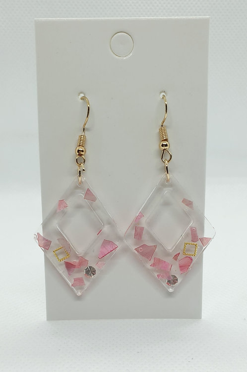Gold and pink shell earrings