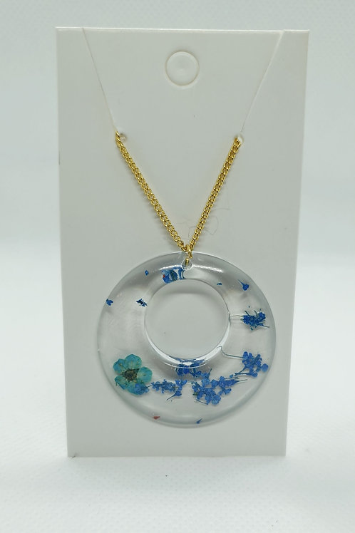 Blue and gold petal necklace