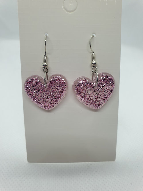 Pink glitter heart earrings