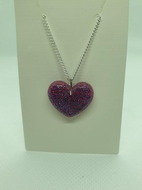 Purple glitter heart necklace