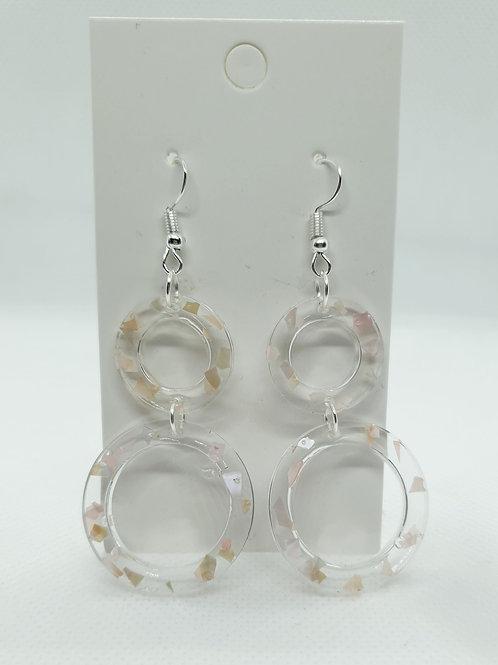 Double loop broken shell earrings.
