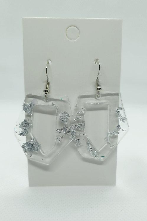 Silver misshapen earrings