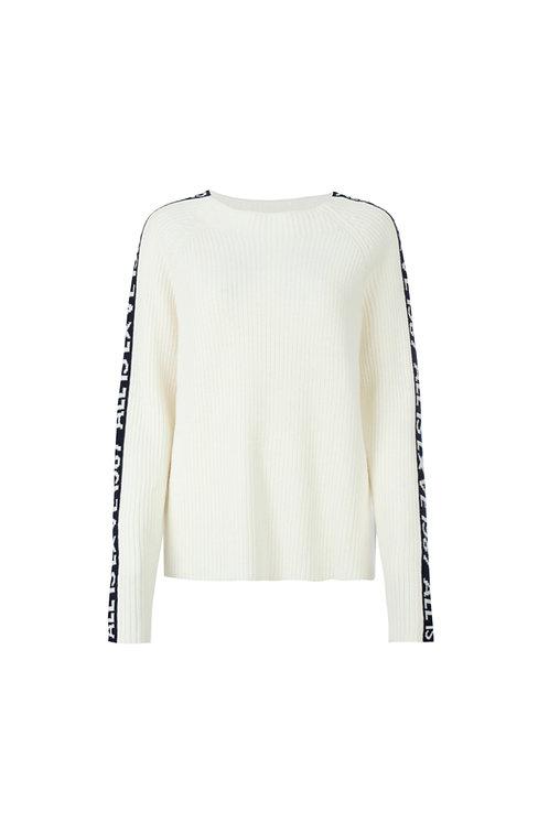 'Lunita' Pullover mit Galonstreifen am Arm, Off-White