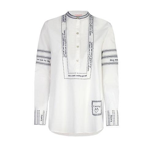 'Ester' Bluse mit Stehkragen und Stickerei, White