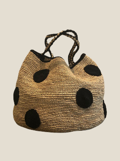 Boho Bag L, Black Dot