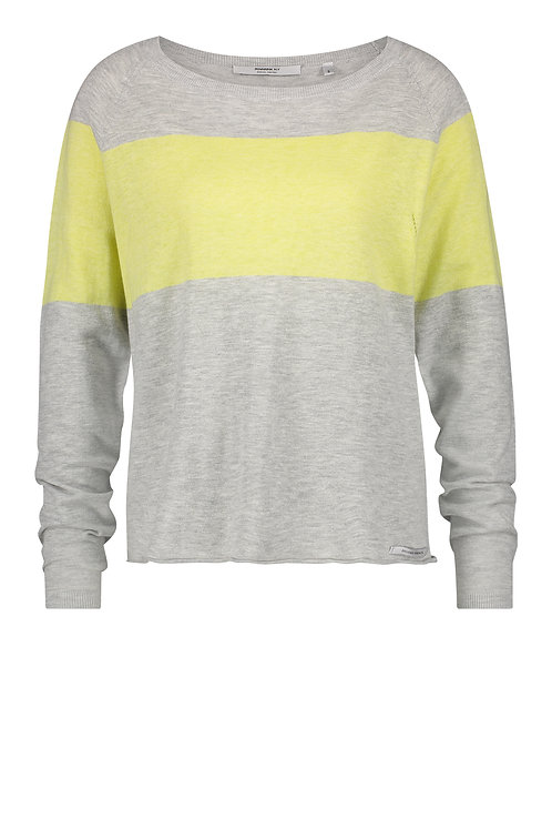 Pullover 'Stripe', Grey Mélange Sunny Lime
