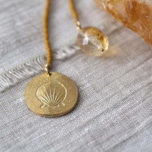 Fairy Citrin Muschel Goldfarbene Halskette