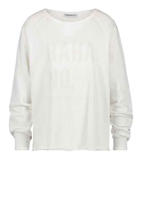 Penn & Ink Sweaterprint 'Haha', Marshmallow
