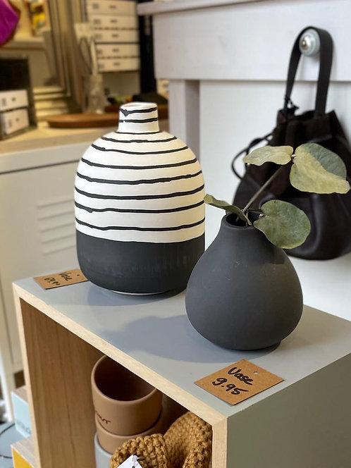 Gestreifte Vase Handmade Black & White
