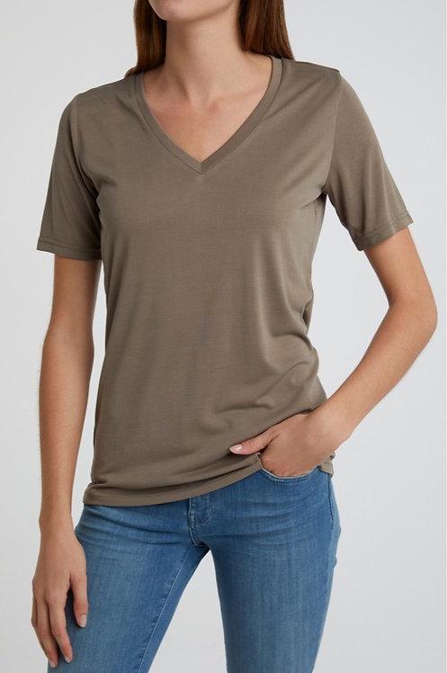 T-Shirt aus Modal mit V-Ausschnitt