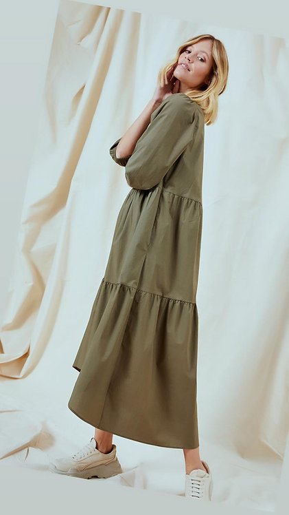Smith & Soul Kleid Midi Mud Khaki