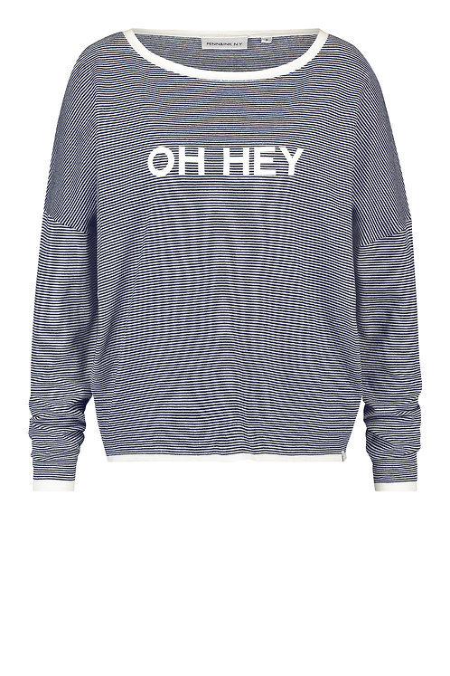 Longsleeve 'Oh Hey', Stripes Navy Blue