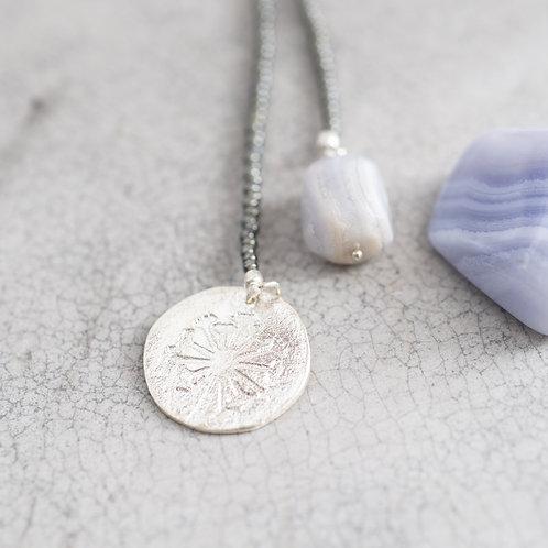 Fairy Blauer Achat Pusteblume Silber Halskette