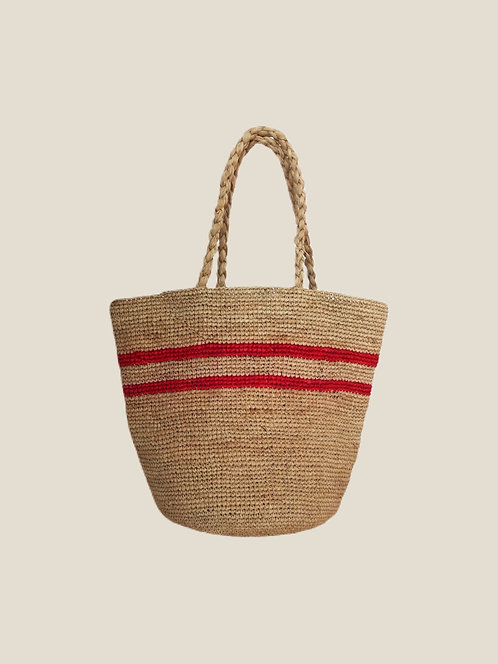 Boho Bag M, Red Two Stripes