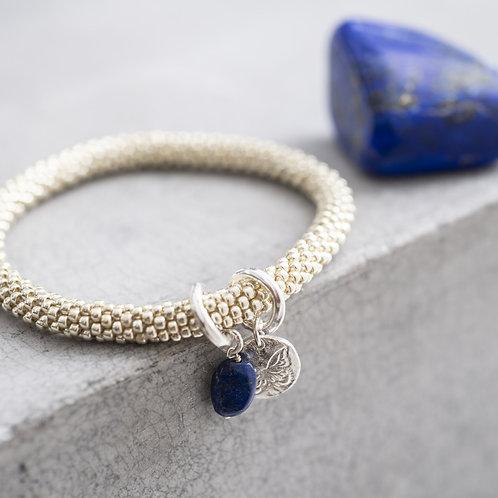 'Jacky' Lapislazuli Schmetterling & Silberfarbenes Armband