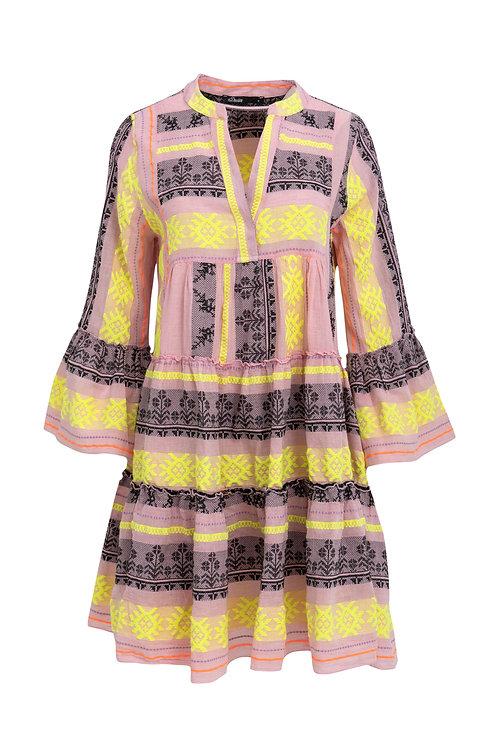 Aztek Ella Kleid, Yellow Pink (lang)