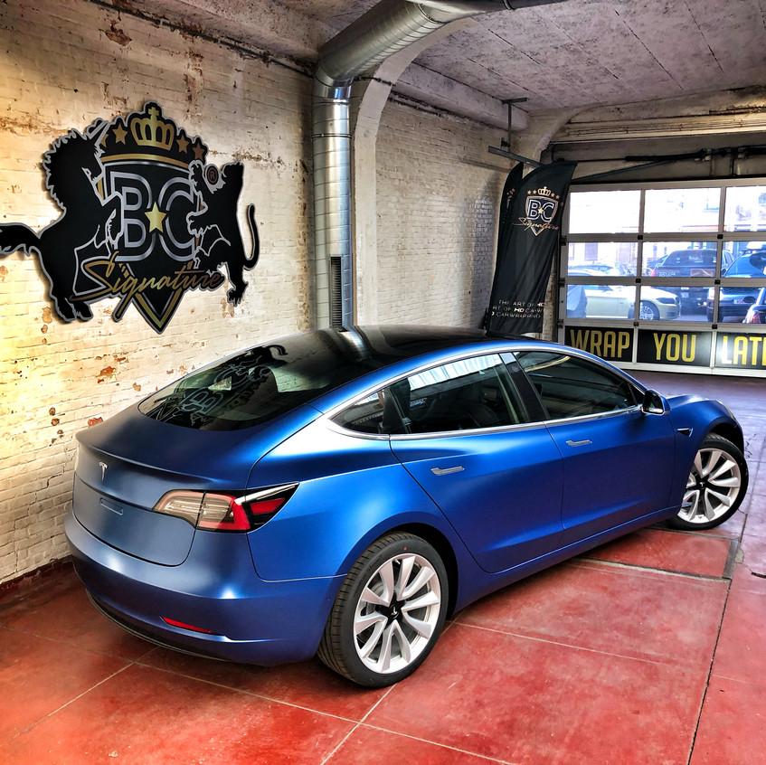 Tesla Model S Satin Blue wrap