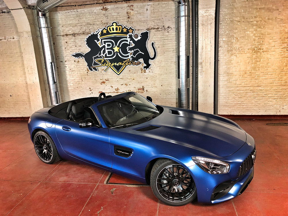 AMG GT Roadster Satin Dark Blue Metallic Carwrap