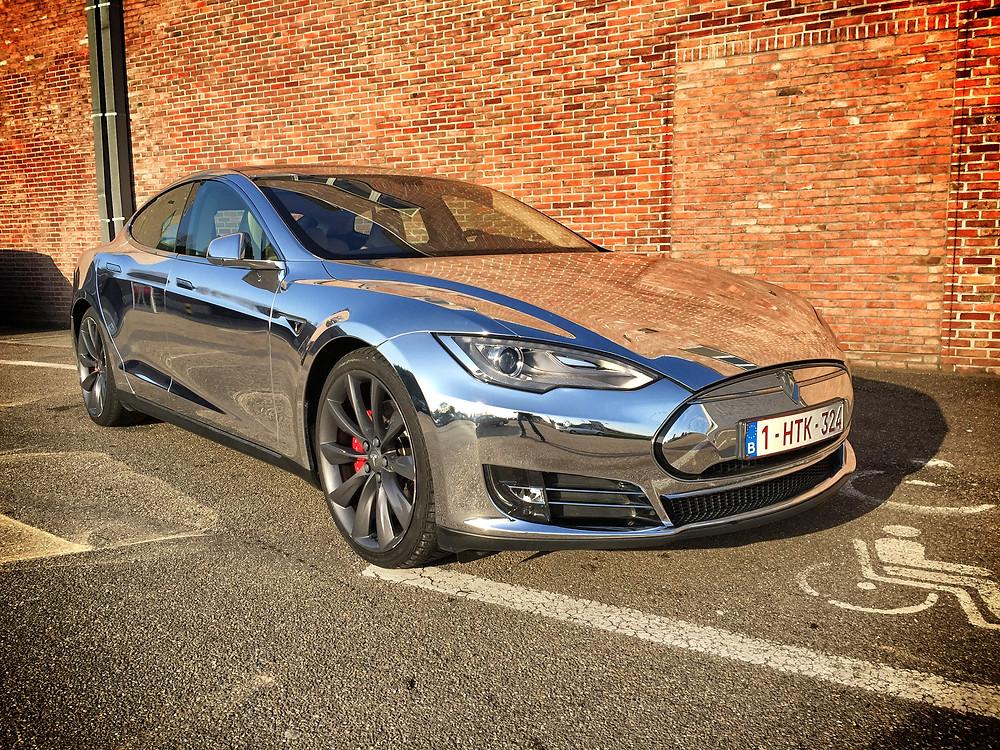 Tesla Model S Chrome Carwrap