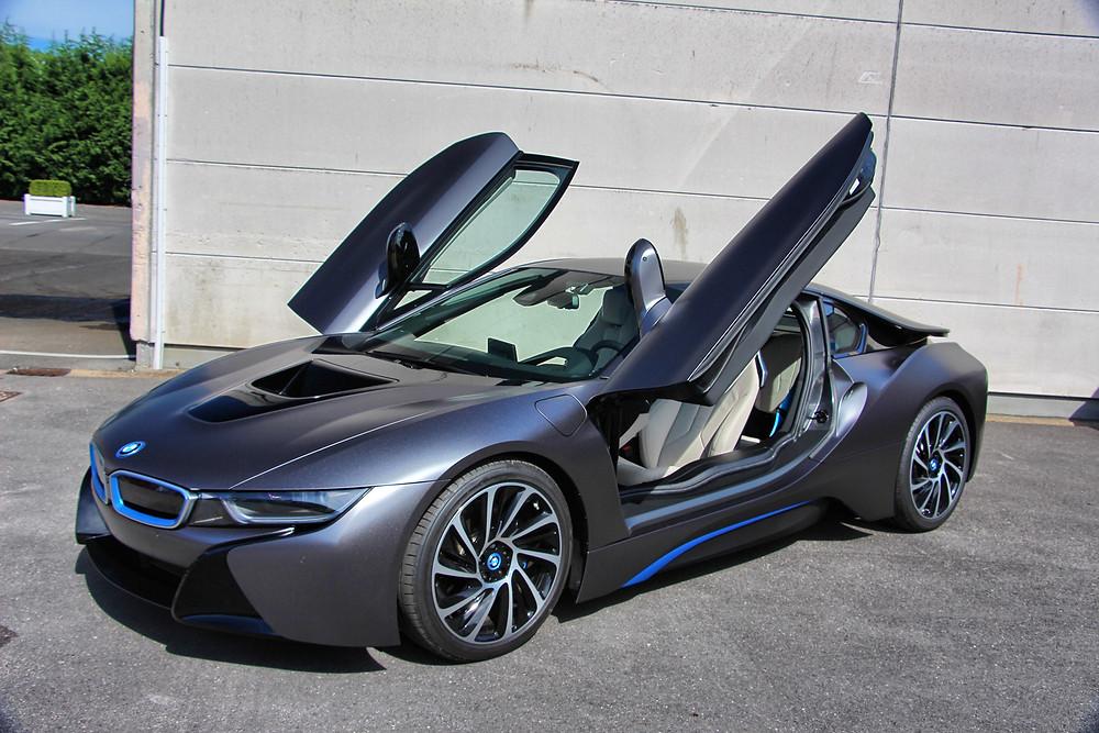 BMW i8 Satin Dark Grey Carwrap Xpel