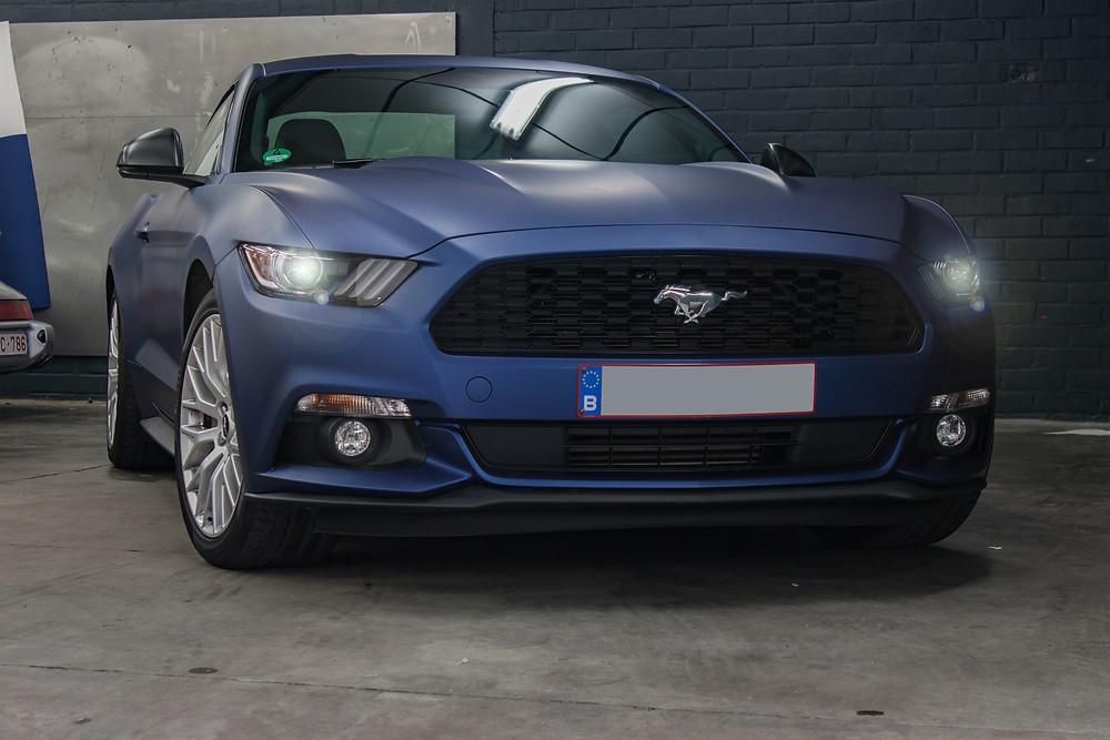 Ford Mustang Matte Blue Metallic Carwrap