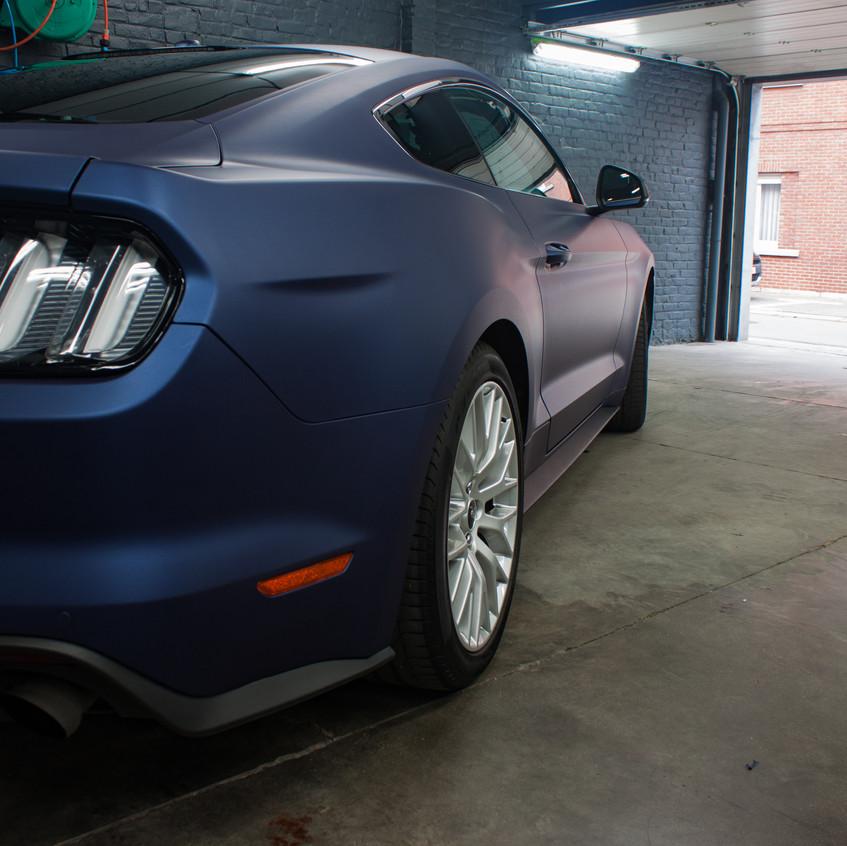 Mustang Matte Blue Metallic Carwrap