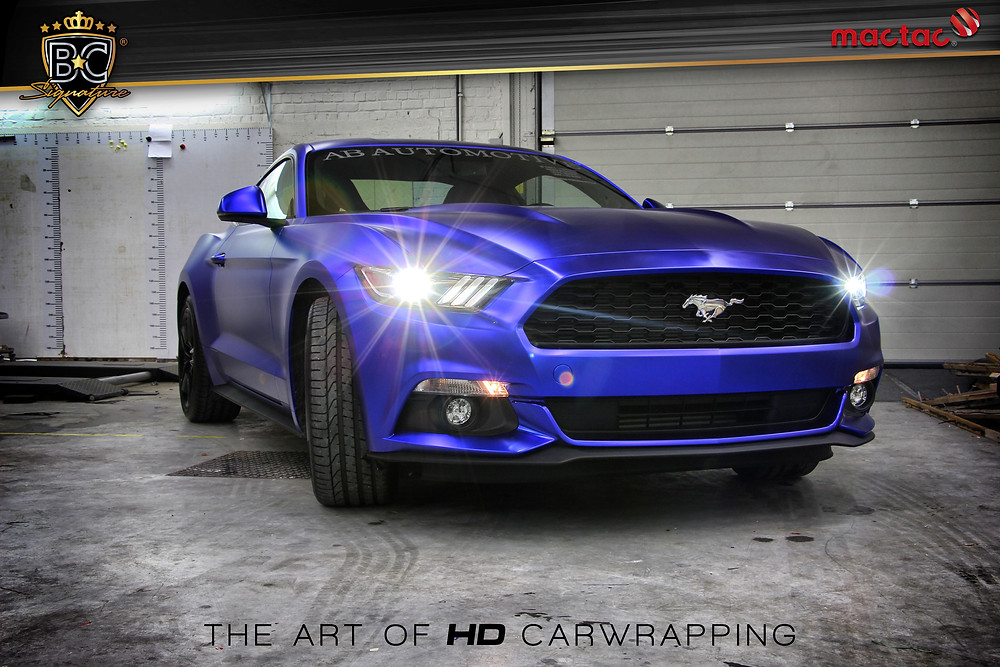Ford Mustang Fastback Matte Blue Chrome Carwrap