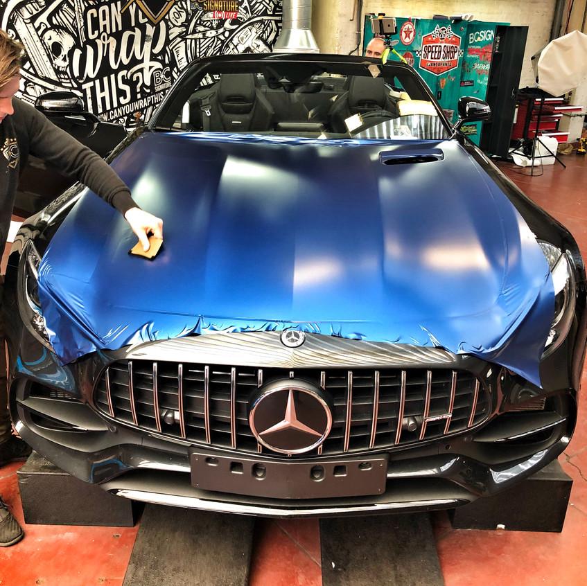 AMG GT Roadster Dark Matte Blue wrap