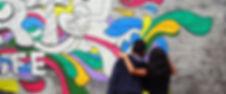 Artville students working on mural.